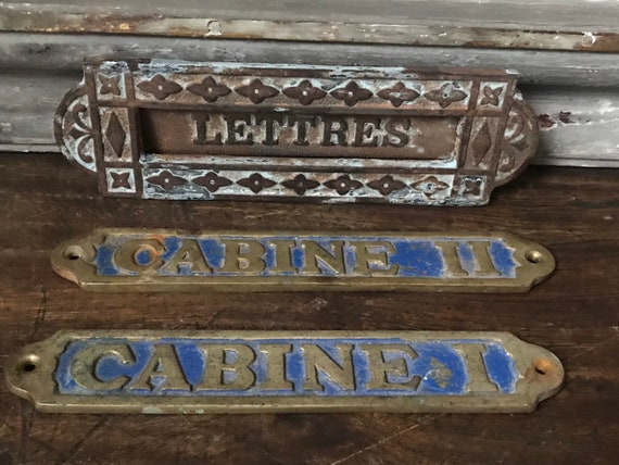Original Brass And Blue Enamel Painted French Signs And Brass Letter Box Plate