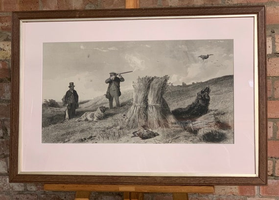 Lovely Original 19th Century Etching of A Game Shooting Scene
