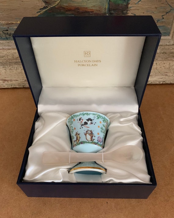 Rare Halcyon Days Porcelain Egg Cup With a Beautiful Mother Of Pearl Spoon - Christening Set or Baby Shower Gift