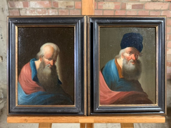 Pair Of Original Antique Oil On Board Portraits Of A Bearded Man / Clergyman - Possibly Dutch