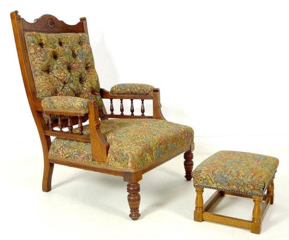 A Stunning Antique Victorian Armchair With Footstool
