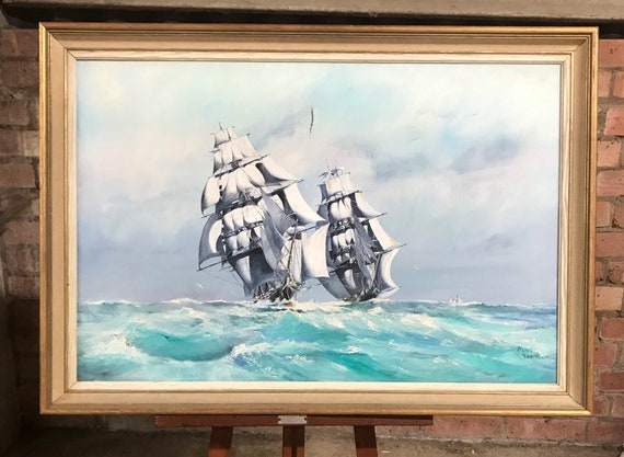 Original Peter Whittock Oil Painting of Clipper Ships on the Sea (damage to canvas)