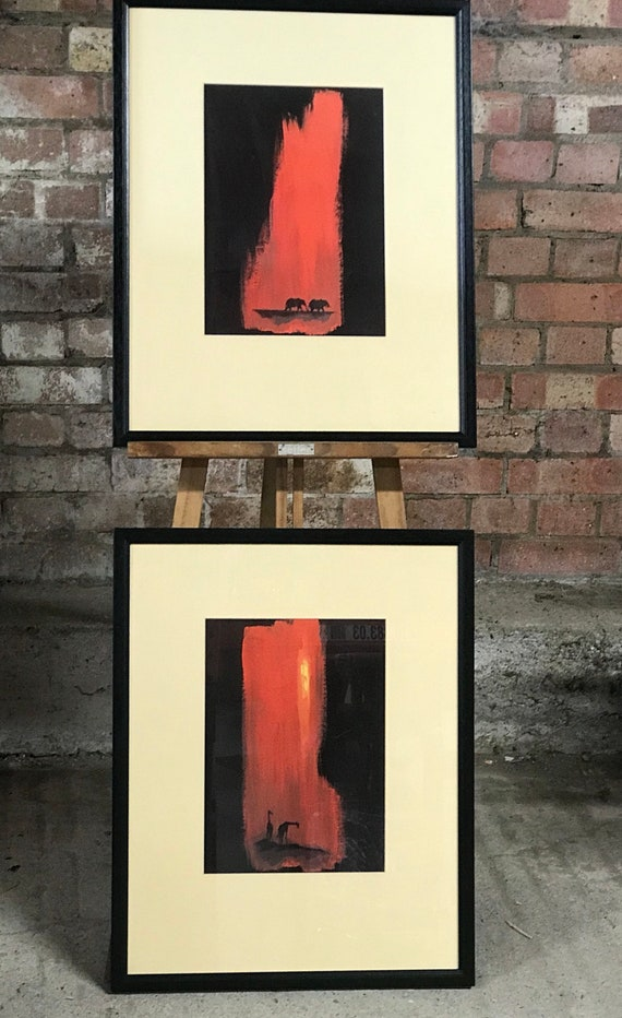 Fabulous Eyecatching Pair of Abstract Style Prints Depicting Giraffes and Elephants