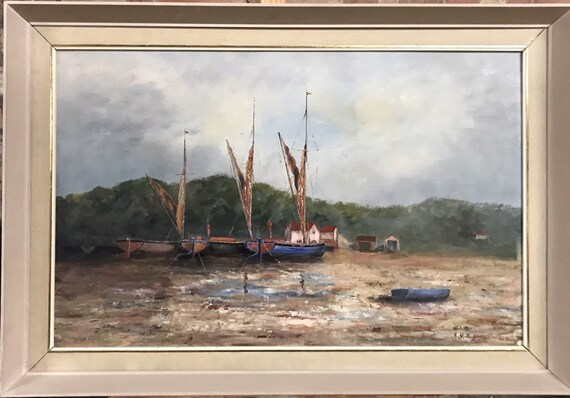 Lovely Vintage Original Oil Painting Of Boats In An Estuary, Indistinctly Signed