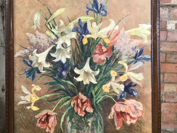 Beautiful Still Life Oil Painting Titled April Flowers by Margaret Graeme Niven (1906-1997)