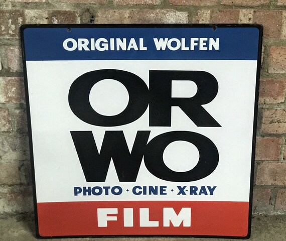 Vintage Double Sided Wolfen ORWO Cine X Ray Enamel Sign