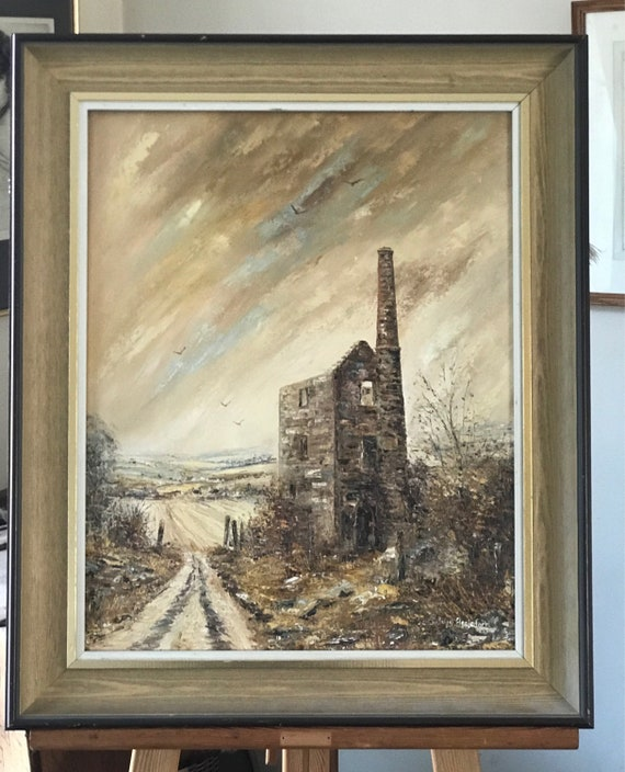 Fabulous Original Oil Painting on Canvas Of A Tin Mine Scene, Cornwall By Wyn Appleford