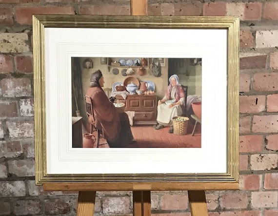 Fabulous Original Watercolour by Henry Tozer of Two Elderly Women in the Kitchen