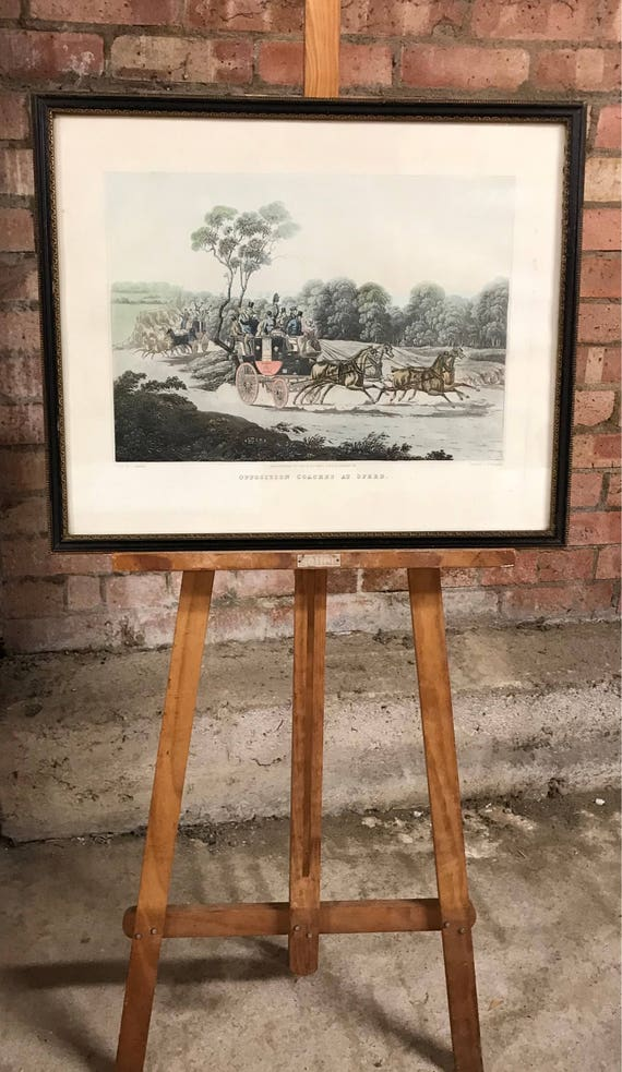 Antique Coloured Engraving After the artist, C Newhouse 'Opposition Coaches At Speed'