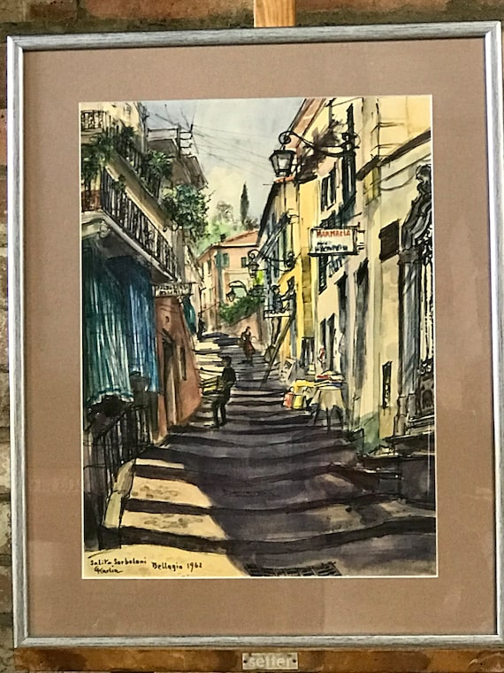 Fabulous Watercolour Dated 1962 and Titled Afternoon In Bellagio By G Karlin