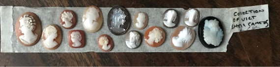 Selection Of Fourteen 19th Century Victorian Intricately Carved Cameos