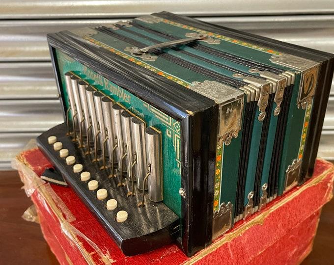 Superb Beautiful Sounding 10 Button German Rosetti Rambler Concertina / Accordion With Original Box