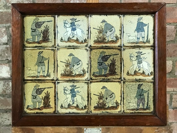 Rare 19th Century Hand Painted Glazed Ceramic Tiles With Hunting Scenes Tray