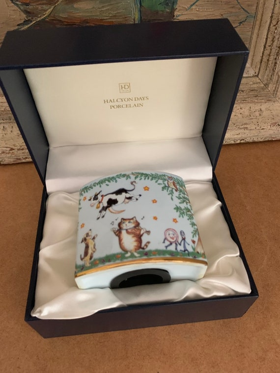 Rare Porcelain Halcyon Days Money Box With Nursery Rhyme, 'Hey Diddle Diddle...'