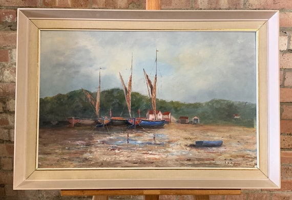 Beautiful Original circa 1950's Oil Painting Of Boats In A Harbour Indisinctly Signed