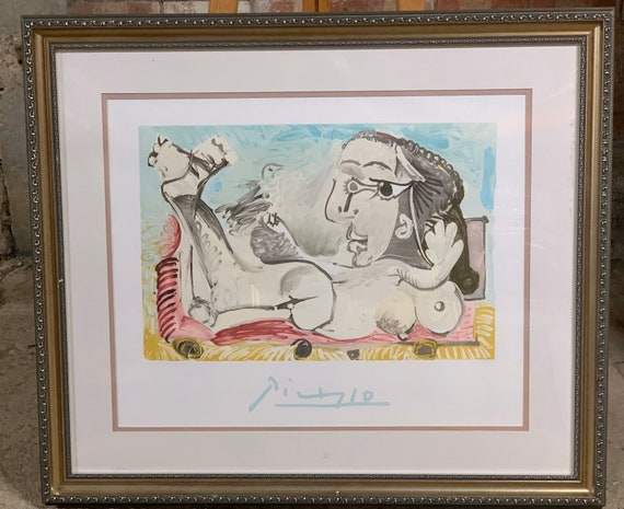 Pablo Picasso Limited Edition Offset Lithograph From 1982 Marina Picasso Collection - Titled Femme Couchee a L'Oiseau with COA