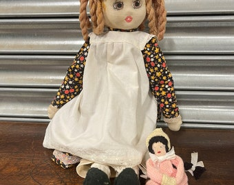 Vintage Circa 1940's/50's Cloth Rag Doll With Painted Face.