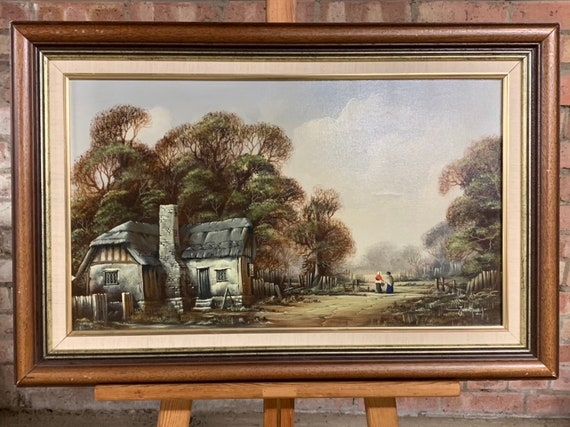 Lovely Vintage Oil Painting Of A Thatched Cottage Scene By the Essex Artist, John Hooley