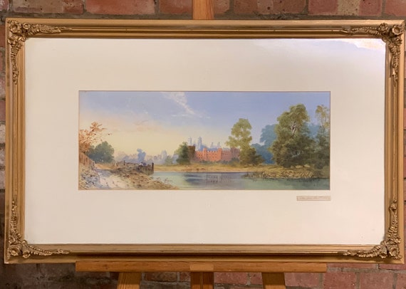 Lovely Original Watercolour Of Eton From The River Dated 1869 After E Richardson