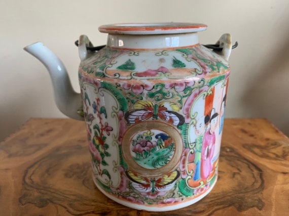 19th Century Antique Chinese Canton Famiille Rose Porcelain Teapot