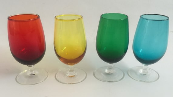 A Set of Four Vintage Coloured Drinking Glasses