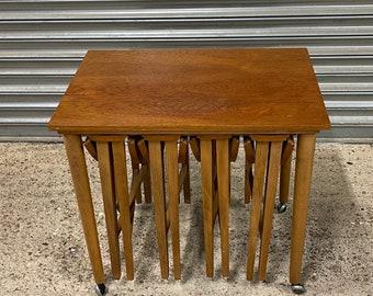 Retro Mid Century Czech Nest of Tables By Poul Hundevad 1960s Set Of 5