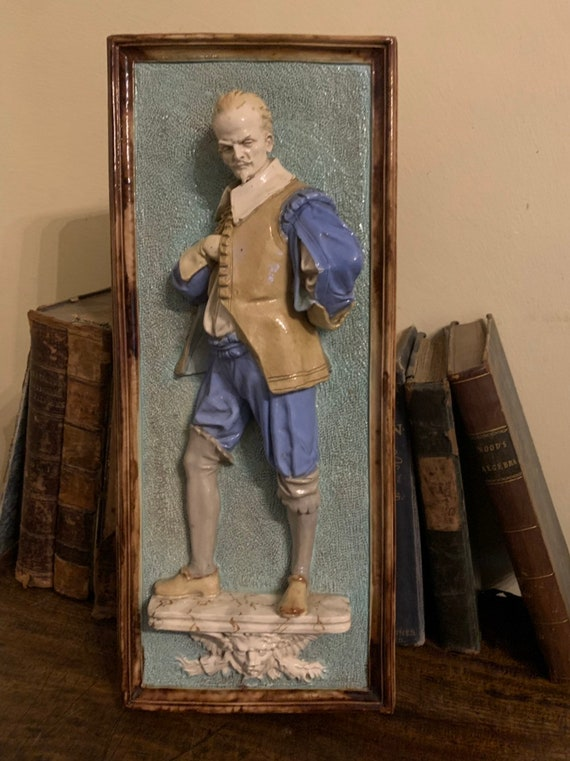 Unusual Wayte & Ridge Majolica Plaque Of A Tudor Dressed Gentleman