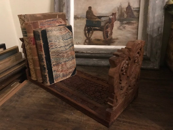 Beautiful Carved Vintage Hardwood Sliding Bookends