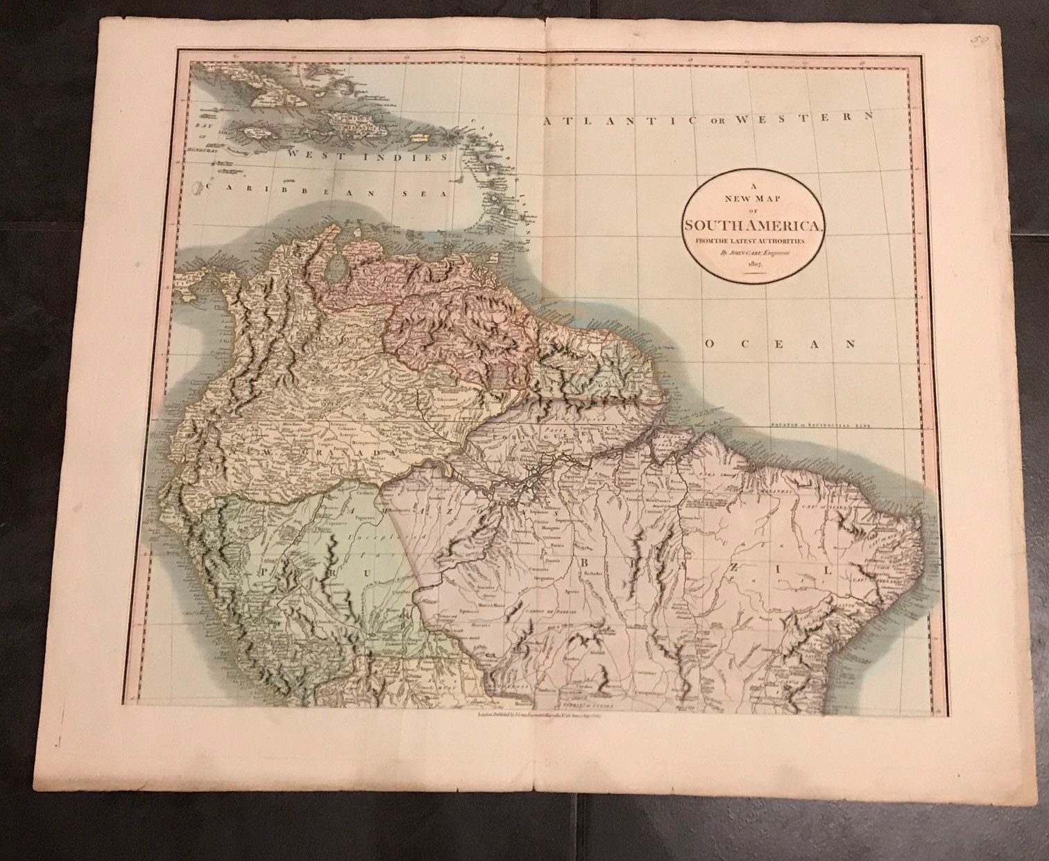 Rare John Cary Map 1807 - New Map Of South America , dated 1807