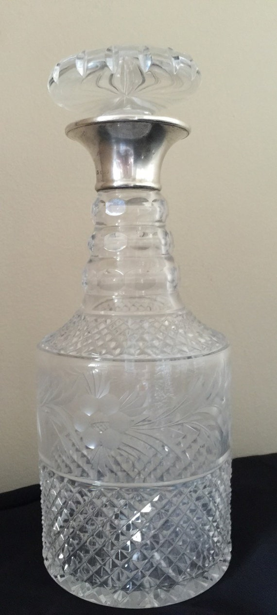 A beautiful Preece & Williscome 1964 Silver topped Cut Glass Decanter