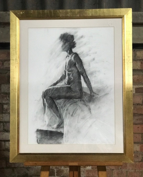 Large Gilt Framed Charcoal Sketch Of A Seated Nude Lady By L Dylan