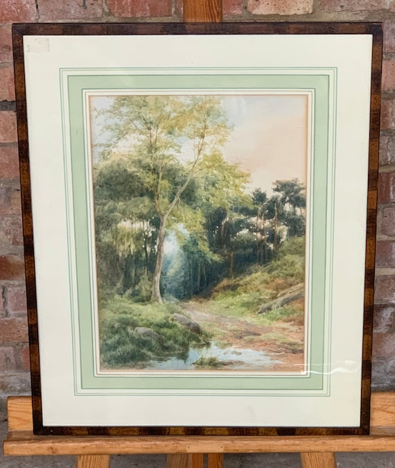 A Lovely 19th-Century Watercolour of a Woodland Scene by E Phipps Dated 1890