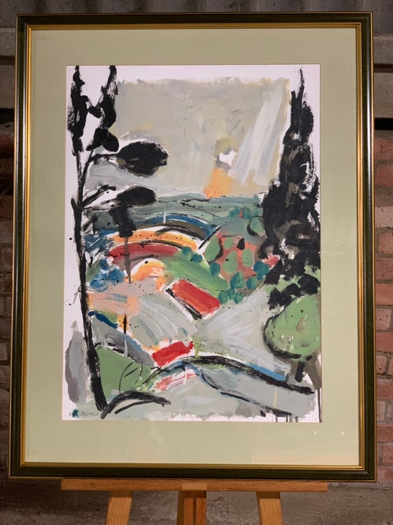 Framed And Glazed Gouache On Paper Of An Abstract Landscape Signed Merni (?) and Dated '87