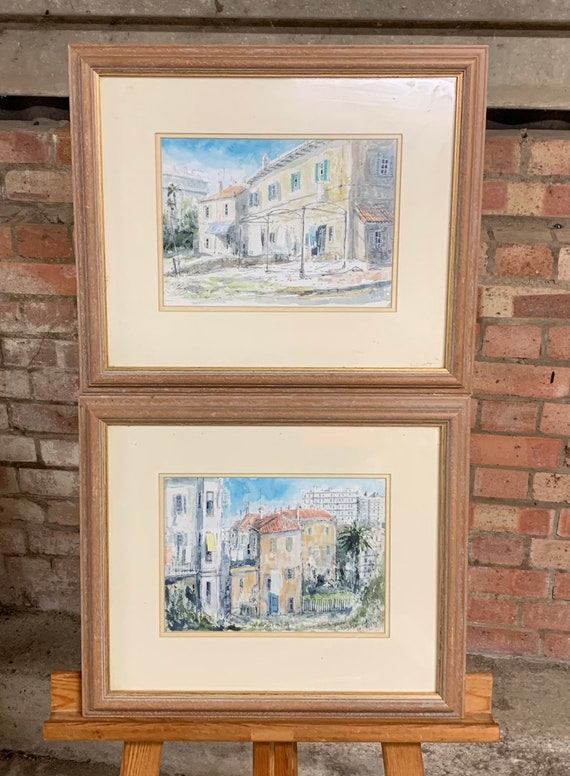 Pair of Original Watercolours of Continental Street Scenes signed JW '91'