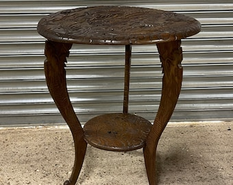 Lovely Vintage Carved Chinese Dragon Design Circular Occasional Table