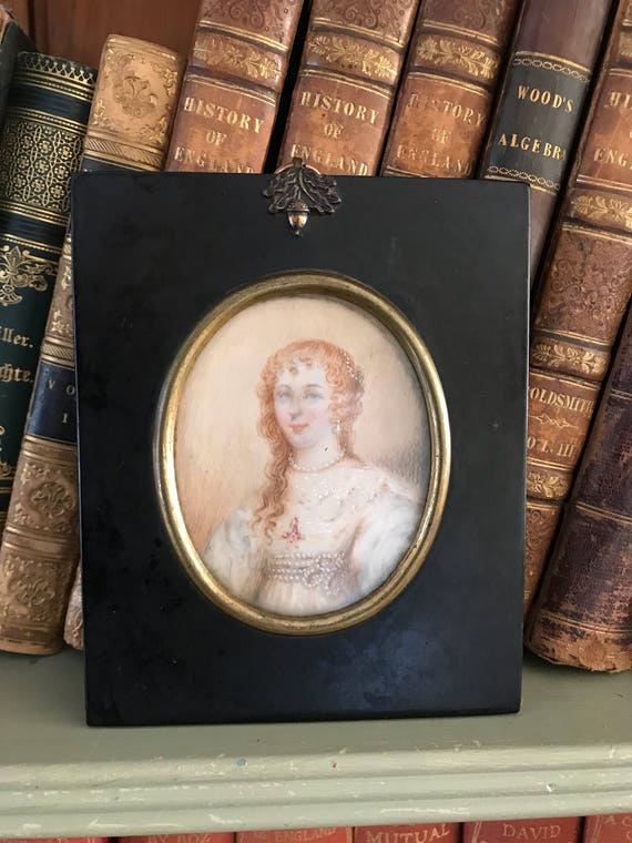 18th Century Hand Painted Miniature Charles 1st Wife Henrietta Maria Of France