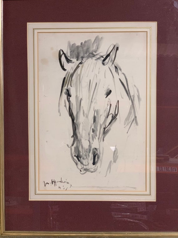 Stunning Original Watercolour Of A Horse Circa 1940's - Indistinctly Signed