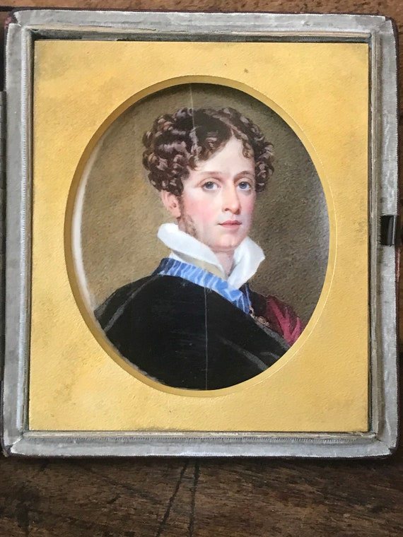 Superb William Egley Miniature Watercolour Portrait of Colonel Sir Horace Beauchamp Seymour (ancestor of Princess Diana) by William Egley