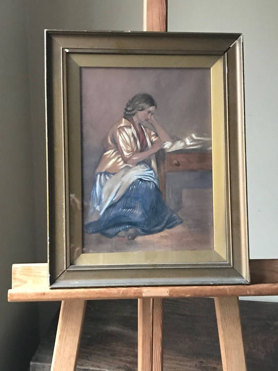 Original 19th Century Watercolour Of A Lady At A Desk