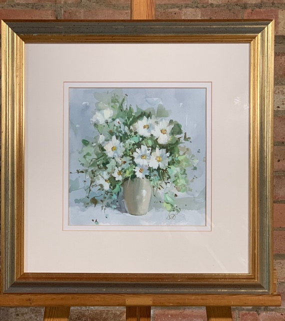 Stunning Original Still Life Watercolour Titled Daisies 2 By Derek Brown.