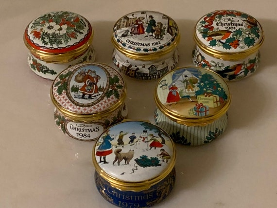 Six Halcyon Days Enamels Christmas Trinket Pill Boxes