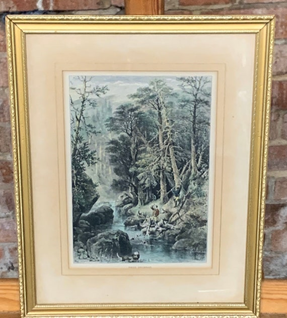 Antique Hand Coloured Etching After Charles Whymper Otter Hunting Scene, Titled Near Braemar