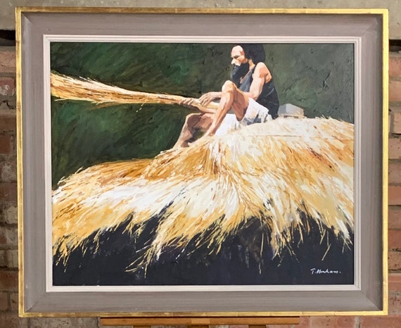 Beautiful Acrylic On Canvas Of A Man Making Hay By Tony Abraham