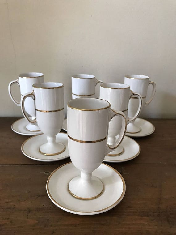 Adler's New Orleans Cafe Set of Six Stem Coffee Cups with Matching Saucers