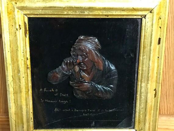 Rare 18th Century Wax Portrait Advertising Snuff Dated 1783