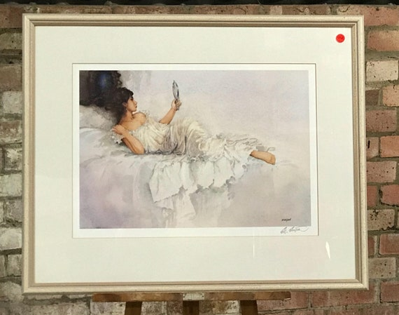 Beautiful Eric Sturgeon Signed Print Of A Young Lady Reclining on a Chair,  Looking In A Hand Mirror