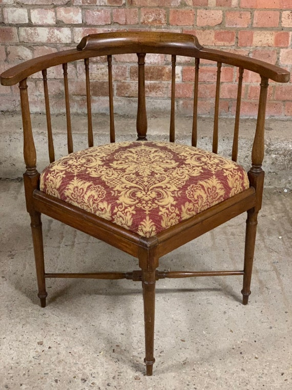 Lovely Unusual 19th Century Spindle Back Corner Armchair with newly re-upholstered drop-in seat