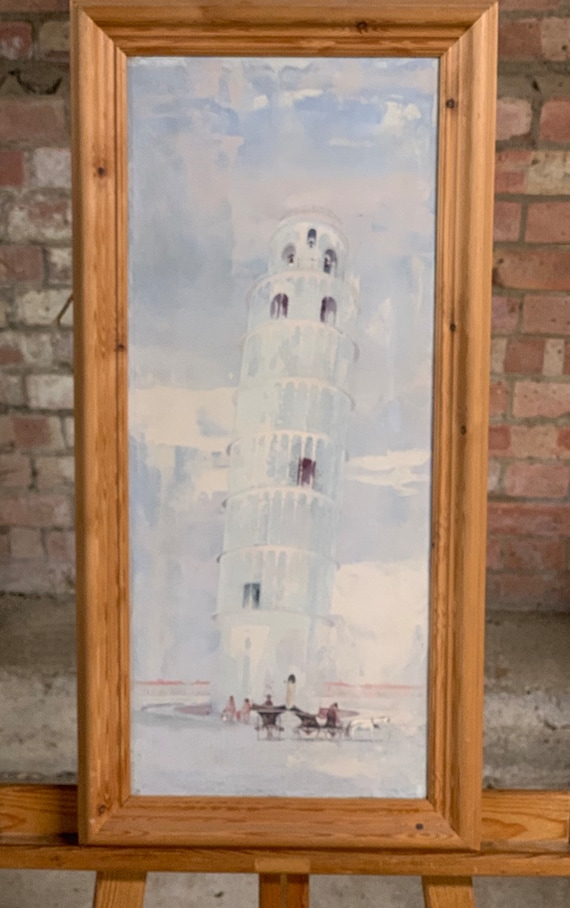 Beautiful Original Frederick T W Cook (1907-1982)Oil Painting on Canvas Of The Leaning Tower Of Pisa in Italy