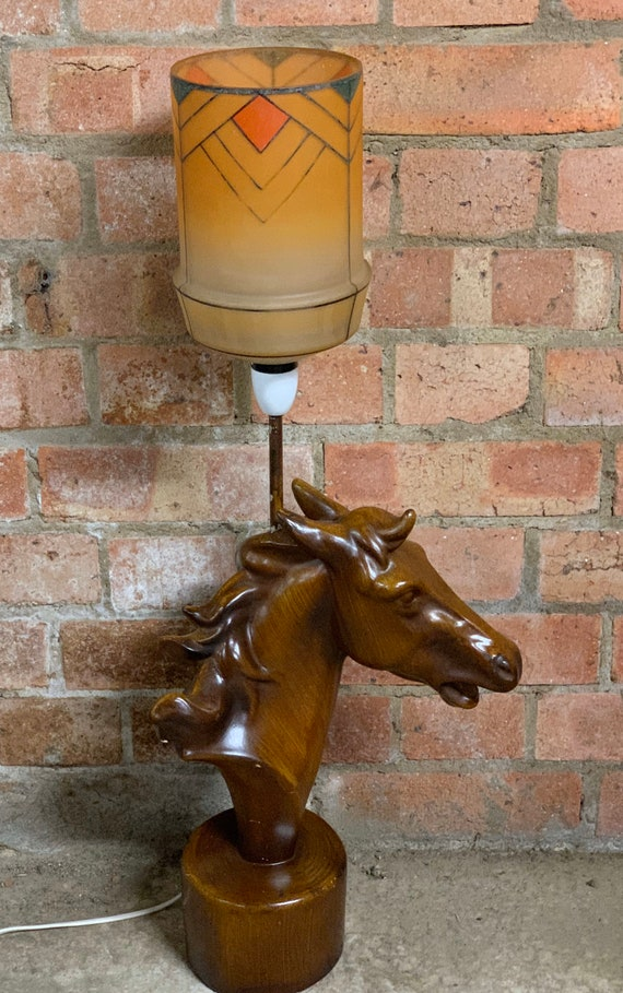Lovely Vintage Ceramic Horse Lamp With A Marriage Of An Art Deco Shade