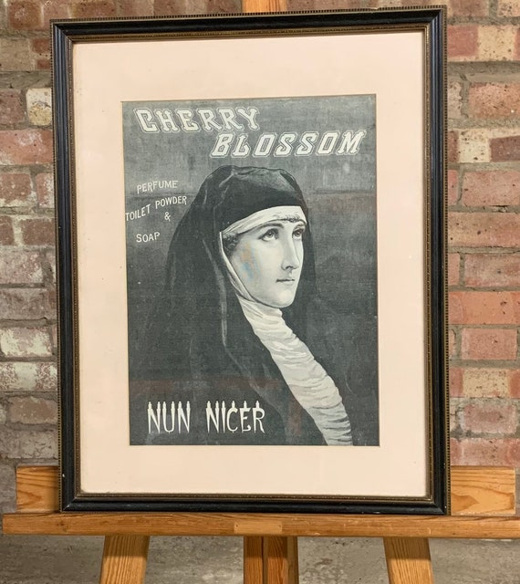 1880's Framed And Glazed Etching Advertisement for Cherry Bossom Perfume Toilet Powder and Soap with the caption underneath 'Nun Nicer'